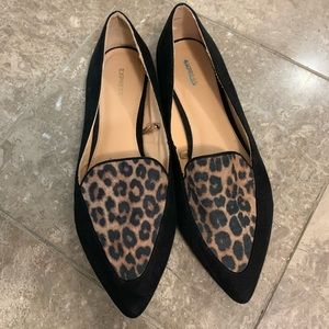 Express leopard and black pointed toe cigar flat 9